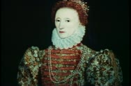 Painting of Queen Elizabeth I, English monarch, English history Stock Footage