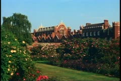 Hampton Court Palace, England, still, medium shot of palace and gardens Stock Footage