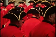 Stock Video Footage of Royal Chelsea pensioners, close up crushed shot of hats, Chelsea, England