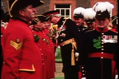 Royal Chelsea pensioners, inspection, Chelsea, England Stock Footage