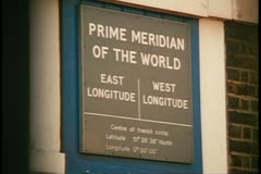 Greenwich Observatory, prime meridian of the world, sign, Greenwich, England Stock Footage