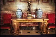 Country Houses of England, Blenheim Palace, interior, tilt up gilt sideboard Stock Footage