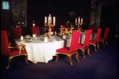 Country Houses of England, Blenheim Palace, interior, dining room, wide Stock Footage