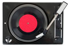 Stock Photo of old turntable with vinyl record