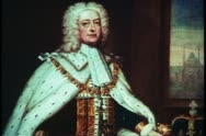 Painting of King George II, English monarch, English history Stock Footage