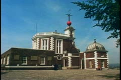 Greenwich Observatory, building with round ball atop, Greenwich, England Stock Footage