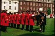 Stock Video Footage of Royal Chelsea pensioners, inspection, Chelsea, England