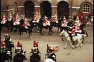 Whitehall, Guard Changing of the Guard, London, England, horsemen leave Stock Footage