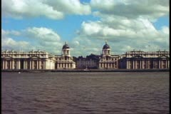 Royal Naval College, Greenwich, England, wide shot, Thames in foreground Stock Footage