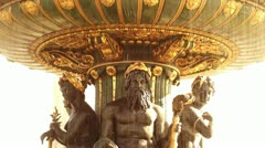 Golden fountain in the Place du Concorde Stock Footage