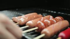 Hotdogs, Sausages on Barbecue Grill (Tracking) Stock Footage