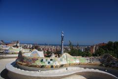Sea serpent bench at park güell, barcelona Stock Photos