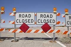 Desert road closure Stock Photos