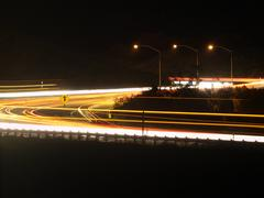 ronald reagan freeway night - stock photo