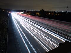 night freeway - stock photo