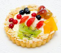 Cake with fruit and berries Stock Photos