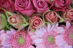 Pink bridal, flower arrangement, roses and gerberas Stock Photos
