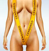 Body with yellow censorship tapes Stock Photos