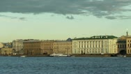 Stock Video Footage of Neva River and the historic buildings, St. Petersburg, Russia