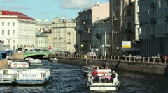 Tourships on the Moika river, St. Petersburg, Russia Stock Footage