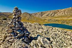 mala luka stone & sea desert, krk, croatia - stock photo