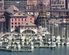 GENOVA harbor with ships and boats Stock Footage