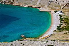 vela luka beautiful clean beach, krk, croatia - stock photo
