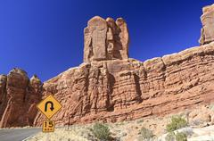 Sharp curve sign in Arches National Park - stock photo