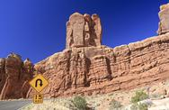 Stock Photo of Sharp curve sign in Arches National Park