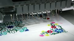 Computer programmable embroidery machine Stock Footage
