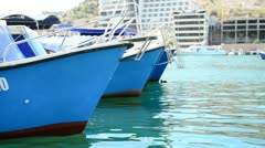 Cutters made fast to moorage - stock footage