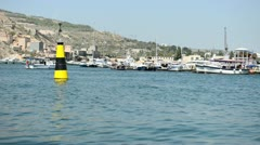 Buoy is in a harbour. Kind from a sea to the coast. Crimea, Sevastopol Stock Footage