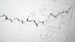 The analysis of price movements. (Graphs and diagrams with a magnifying glass) Stock Footage