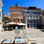 view of heroes of cypriot struggle square, corfu, greece - stock photo