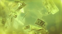 Cash dollar bills spinning loop ready background Stock Footage