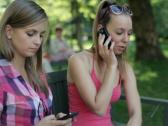 Friends with cellphone and smartphone in the park, steadicam shot NTSC Stock Footage