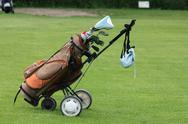 Brown golfbag Stock Photos