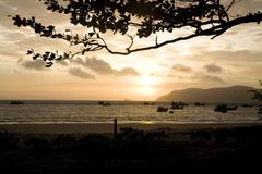 Sunrise on the coastline and beautiful beach of Vietnam. Stock Photos