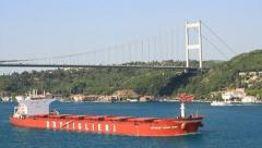 Red Cargo Ship Stock Footage