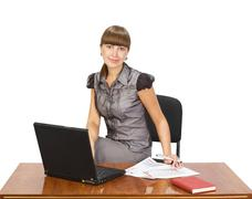 beautiful girl with laptop - stock photo
