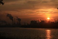 Industrial sunset Stock Photos