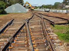 railway track preparation for modernization - stock photo