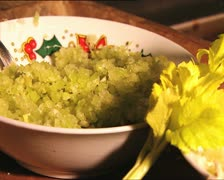 FOOD chopped celery and leaf Stock Footage