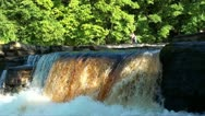 Fast flowing river with waterfall Stock Footage