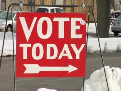 'Vote Today' sign - stock footage