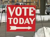 Stock Video Footage of 'Vote Today' sign
