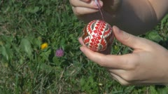Lady painting Easter egg lifestyle red lady handmake colorful symbol woman girl Stock Footage