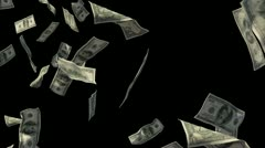 Loop ready Flying cash dollar bills with alpha channel Stock Footage
