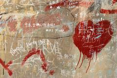 chinese doodle on wall  board background - stock photo