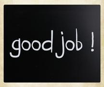 """good job!"" handwritten with white chalk on a blackboard Stock Photos"